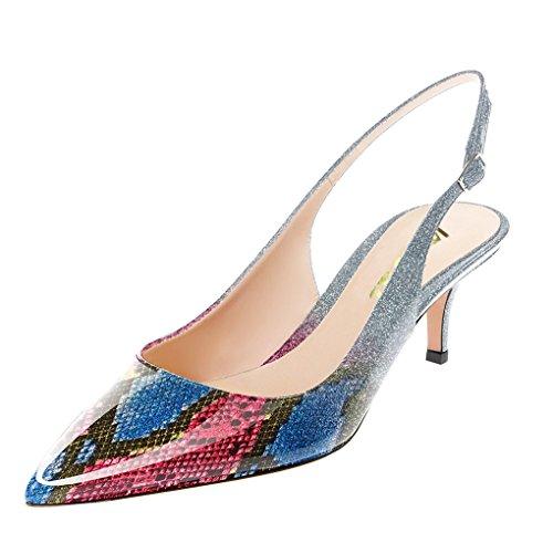 Scarpe Da Donna Con Tacco A Spillo Per Donna, Scarpe Basse Con Tacco Basso, Scarpe Multicolore / Pelle Di Serpente