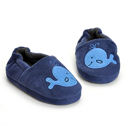 Toddler Boys Whale Winter Home Slippers Cartoon Cute Animals Plush Warm Blue Shoes Rubber