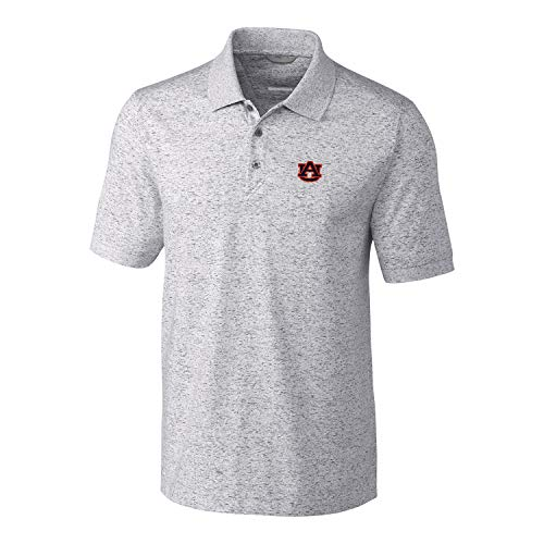 (Cutter & Buck NCAA Auburn Tigers Mens Short Sleeve Space Dye Advantage Polo, Elemental Grey, Large)