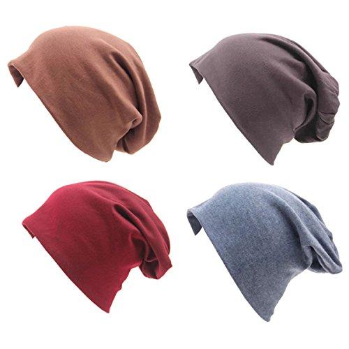 Cotton Stretch Beanie (JOYEBUY 4 Pack Women Men Stylish Cotton Beanie Cap Slouchy Beanies Hats Soft Sleep Cap (Style D))