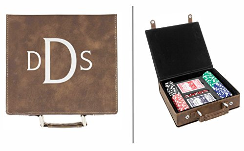 JDS Industries Personalized 100 Chip Poker Set in Leatherette Carrying Case (Brown)