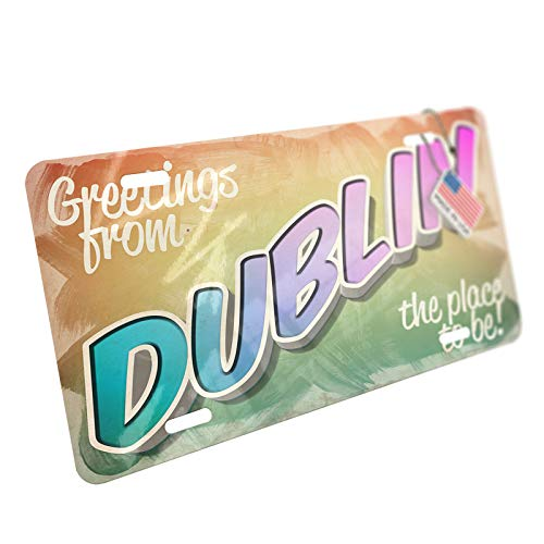 NEONBLOND Greetings from Dublin, Vintage Postcard Aluminum License Plate