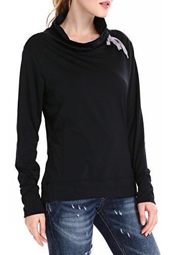 Girl2Queen Funnel Neck Lightweight Pullover Sweatshirts for Women