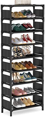 Tribesigns Vertical Shoe Rack, 8 Tiers Narrow Shoe Shelf 16 Pairs Shoe Storage Organizer Space Saving