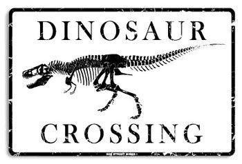 Seaweed Surf Co AA21 12X18 Aluminum Sign Dinosaur Crossing (Seaweed Surf Co compare prices)