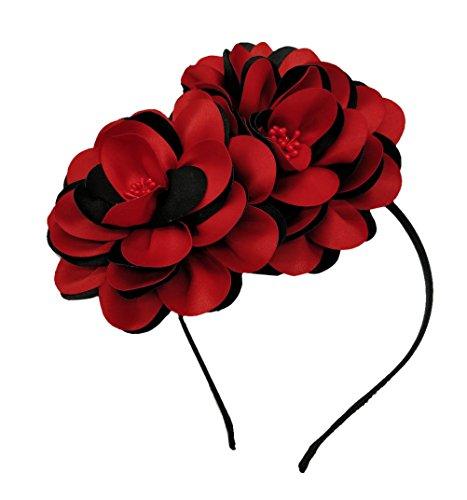 Vintage Elegant Flower Fascinator Hair Clip Headband (01A Black red)