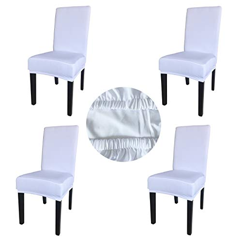 Gold Fortune Spandex Fabric Stretch Removable Washable Dining Room Chair Cover Protector Seat Slipcovers Set of 4 (White)