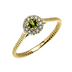 10k Yellow Gold Dainty Halo Diamond and Solitaire Peridot Rope Design Promise Ring