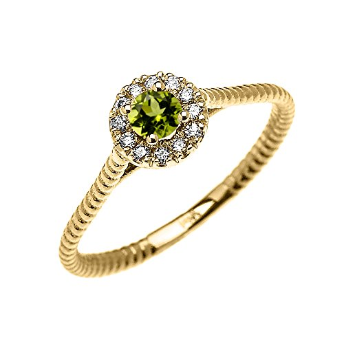 10k yellow gold dainty halo and solitaire peridot