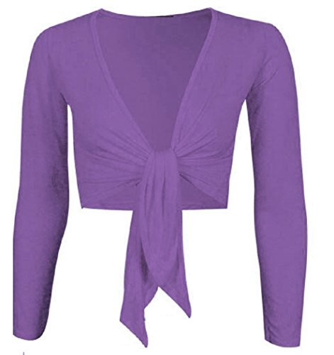 WOMEN'S TIE UP CROP SHRUG WRAP BOLERO CARDIGAN TOP SIZES (ML, PURPLE) Tie Front Bolero