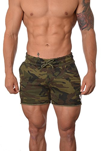 Youngla Men's French Terry Solid Bodybuilding Gym Running Workout Shorts Camo Green Large