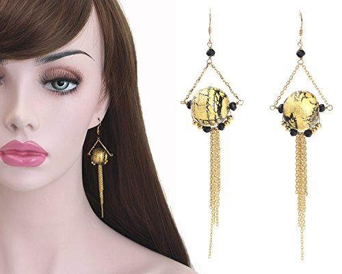 Murano gold glass beads long chain earrings,Black garnet gold long chain earring,Gold plated 925 sterling silver dangle earrings