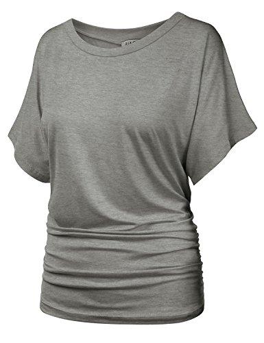 BIADANI Womens Short Sleeve Boat Neck Solid Shirring Dolman Drape (Ruched Knit Top)