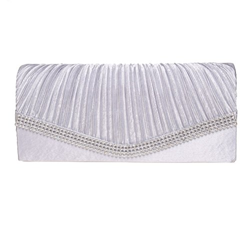 Evening Clutch, FASHIONROAD Womens Satin Crystal Envelope Clutch Purses For Wedding And Party Silver