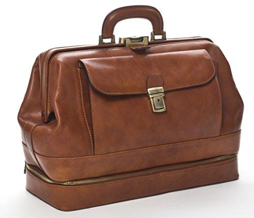 Doctor's Bag - Borsa medico in classica pelle vitello tamponata a mano, prodotta esclusivamente in Italia 41X16Xh29 cm