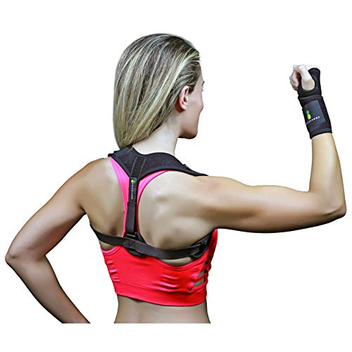 Back Posture Corrector for Women & Men + Bonus Wrist Brace - Comfortable Clavicle Support & Straightener for Slouching - Adjustable Brace for Back, Neck & Shoulder Pain Relief - Discreet Under Clothes