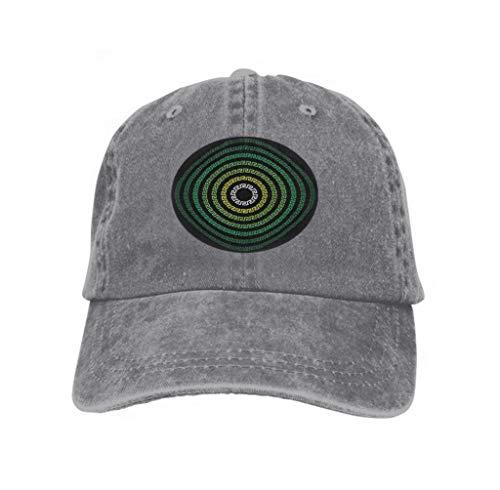 - Unisex Style Strapback Hat Baseball Cap Greek Ornament Ring Cyan Black Background Gray