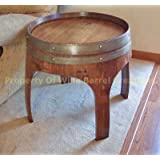 "22"" Solid Oak End Table with Arch Legs Made By Wine Barrel Creations"
