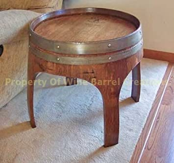 22quot solid oak end table with arch legs made by wine barrel creations arched napa valley wine barrel table