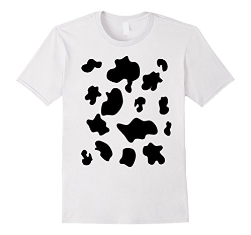 Inexpensive Last Minute Halloween Costumes (Mens Last Minute Halloween Costume Shirt Cow Pattern Spots 3XL White)