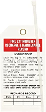 """Brady 65371 5-3/4"""" Height, 3"""" Width, B-851 Economy Polyester, Red And Black On White Fire Extinguisher Tags (Pack Of 25)"""