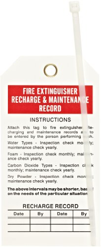 "UPC 754473653712, Brady 65371 5-3/4"" Height, 3"" Width, B-851 Economy Polyester, Red And Black On White Fire Extinguisher Tags (Pack Of 25)"