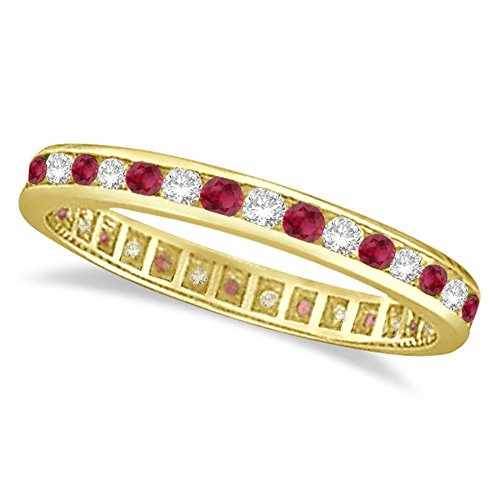 (Ruby and Diamond Channel Set Ring Eternity Band 14k Yellow Gold)