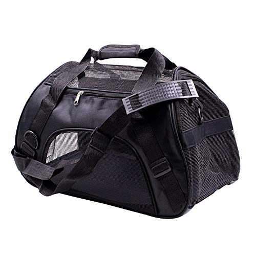 (SqsYqz Pet Travel Carriers Pet Travel Carriers Soft Sided Portable Bags Dogs Cats Dog Outing Bags Messenger Bags,Black,M)