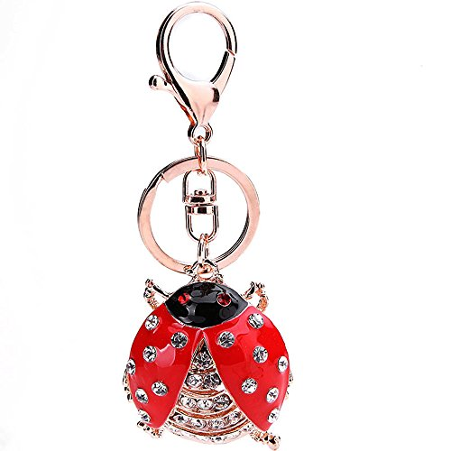 Ladybug Key Ring Keychain - Jzcky Shzrp Cute Ladybug Shape Crystal Rhinestone Keychain Key Chain Sparkling Key Ring Charm Purse Pendant Handbag Decoration Holiday Gift