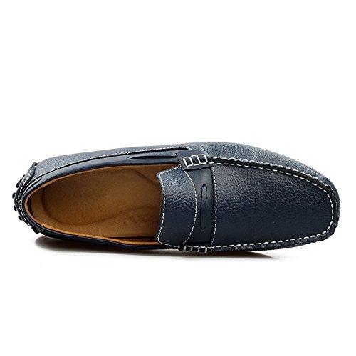 Para 39 Hombres Oscuro hielo Del Mocasines Manera Casuales Azul Caminar Cuero Zapatos Los Gris De Genuino Profundo PCqaSxx