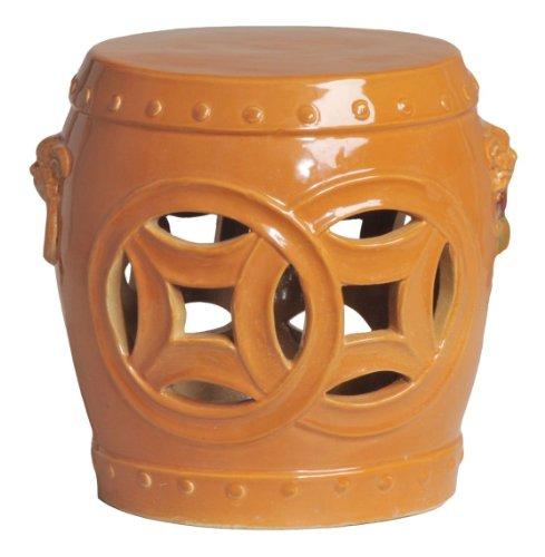 Double Fortune Tangerine Orange Pierced Asian Garden Seat...