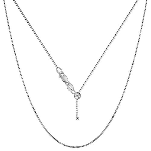 Sterling Silver 0.8MM Adjustable Box Bolo Chain for Women- Thin Adjustable Necklace in 4 Colors (Rhodium Plated) ()