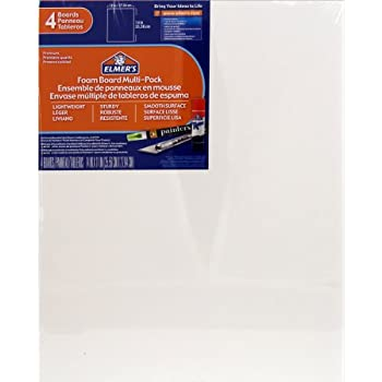 Elmers/X-Acto 950021 Foamboard, 11-Inch x 14-Inch x .1875-Inch, White, 4/Pack
