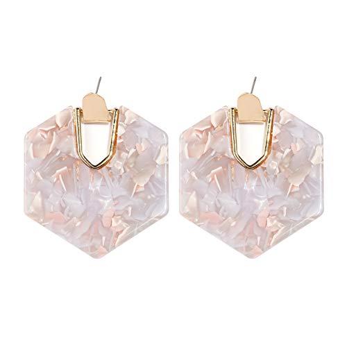 (Acrylic Resin Hoop Earrings - Tortoise Shell Earrings for Women Boho Jewelry, Great for Sister, Friends, Mom (Mottled Pink))