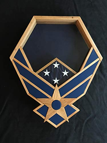 Handcrafted-Oak-and-Navy-Air-Force-Falcon-Shadow-Box