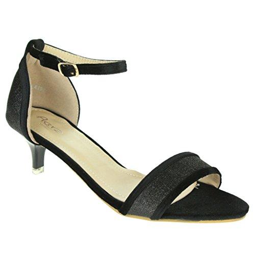 Mujer Señoras Sparkly Corte de terciopelo Punta abierta Correa de tobillo Tacón de gatito Noche Boda Fiesta Nupcial Sandalias Zapatos Talla Negro