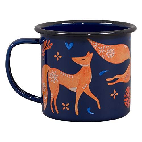 Apricot Mug - Folklore Woodland Watercolor Durable Travel Enamel Beverage Mug, Fox