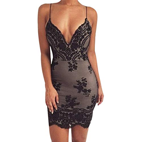 Toimothcn Women Sequin Deep V Neck Lace Sling