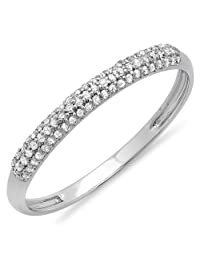 0.16 Carat (ctw) 14K Gold Round White Diamond Ladies Bridal Anniversary Wedding Band Stackable Ring