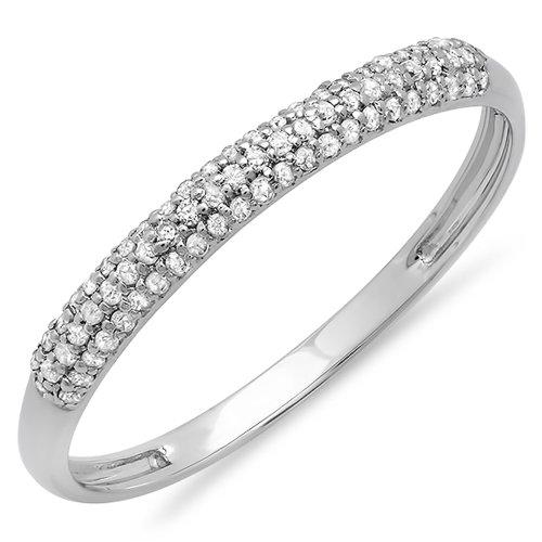 0.16 Carat (ctw) 10K White Gold Round White Diamond Ladies Bridal Anniversary Wedding Band (Size