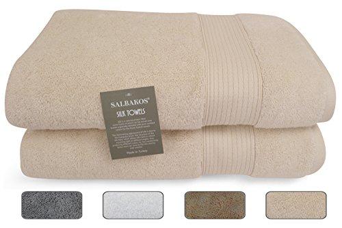 SALBAKOS Italian Silk and Combed Turkish Cotton 2 Piece Soft Eco-Friendly Luxury Bath Sheet Towel Set of 2-30 x 60 Inch, Ivory (Bath Towel Set Silk)