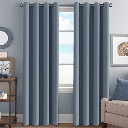H.VERSAILTEX Elegant Grommet Blackout Thermal Insualted Solid Curtains/Drapes,Window Treatment Panels (Set of 2, Stone Blue, 52