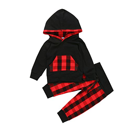 Baby Boys Girls Clothes Long Sleeve Hoodie Tops Sweatsuit Pants Headband Outfits Set 0-24 Months (3-6 Months, Wine Red)