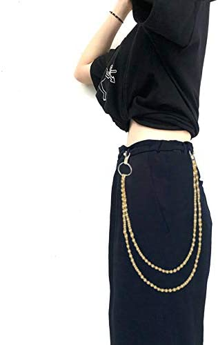 Shuxy Pocket Chain Pants Chain Trousers Chain with Star 3 Layer Pocket Keychain Hip Hop Chain for Keys Wallet Jeans Pant Chains Belt Loop Purse Handbag for Biker Motorcycle Locomotive Style Silver