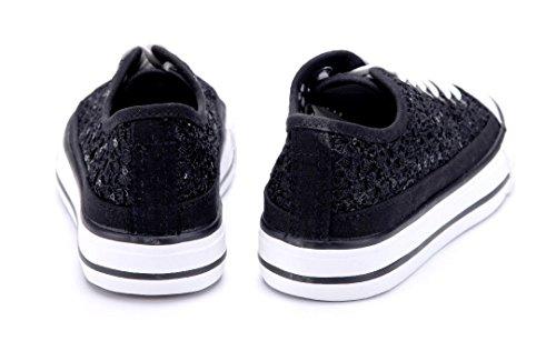 Schuhtempel24 Damen Schuhe Low Sneaker Flach Pailetten Schwarz