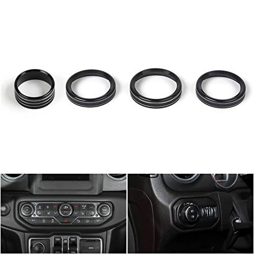 Areyourshop 4PCS Aluminum AC Climate Control Ring Knob Covers for Wrangler JL 2018+ BLK ()