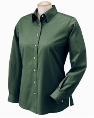 Chestnut Hill Women's 32 Singles Long Sleeve Twill Button Down Dress Shirt CH500W green - Green Dress Shops Hills