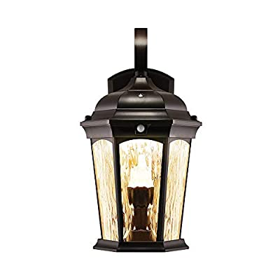 Euri Lighting EFL-MD Flickering Flame Lantern with Integrated Security Light (3000K), Photocell and Motion-Sensor (Dusk-to-Dawn), Oil Rubbed Bronze Housing