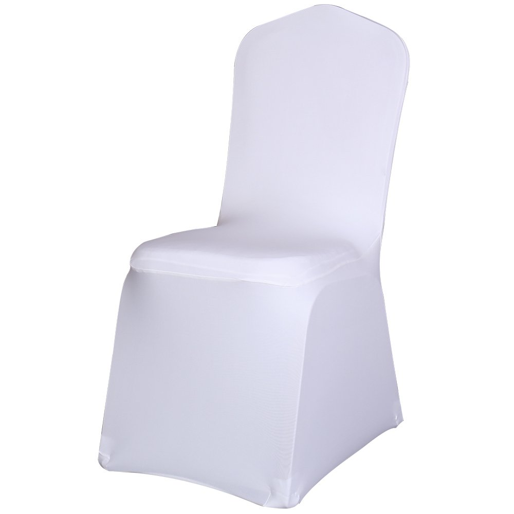 Best Sale Set of 100pc White Color Universal Size Polyester Spandex Banquet Wedding Party Decoration Stretch Dining Chair Covers--(Flat Bottom) by SINSSOWL