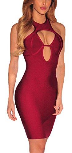 EOZY Robes Femme Rouge Soirée Bandage Moulante Vetement Creux Décolleté